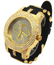 Mens Gold Case  CZ Iced Out  Bling Techno Quartz Hip Hop Wrist Watch watches