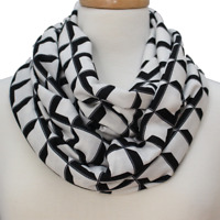 Pop Op Art Black Rayon Blend Infinity Fashion Scarf Gift for women or man