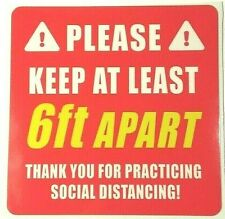 6 Feet Apart - Social Distancing Decal Sticker Sign Business Office Door Window