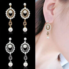Fashion Women Crystal Simulated Pearl Ear Dangle Earrings Girl Chic Jewelry Gift