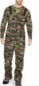 Under Armour Grit Forest Camo Mid Season Hunting Bib Pants Medium 1316872 940