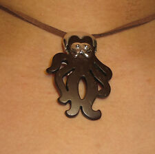 Necklace Gianni Liverani coconut shell & silver plated Zama alloy Octopus New!