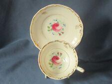 Antique Victorian Staffordshire Tea Cup & Saucer Set Pink Rose Pattern