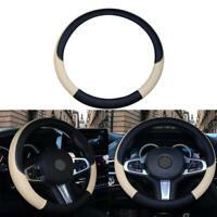 PVC Leather Car Steering Wheel Cover Anti-slip Protector 38cm Black Beige gfr
