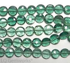 "8"" GREEN QUARTZ 9-10mm Faceted Coin Beads /Q5"