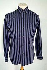 Awesome Agnes b Black Purple Stripes Cotton Button Front Men's Shirt 1