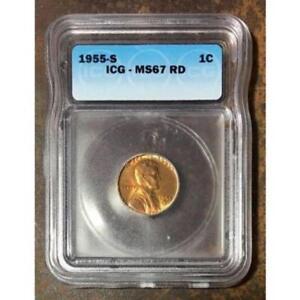 1955 S Lincoln Cent ICG MS67 RD *Rev Tye's* #320231