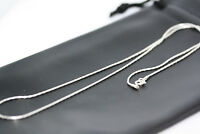 """New Women's Beading Chain Necklace Real Sterling Silver 20"""" 50CM 1 MM Italy NWT"""