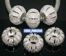 50pcs Silver Plate Carved Stardust Aluminium Big Hole Bead fit European Bracelet