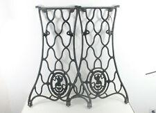 2-Vintage SINGER Sewing Machine Cast Iron Treadle Base Legs Wheels Pair