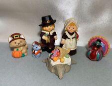 Thanksgiving Hallmark Merry Miniatures Pilgrim Cat Mouse Turkey Food Vintage Lot