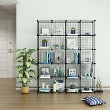 20 Metal Wire DIY Storage Cubes Bookcase Shelving Unit Display Wardrobe Black