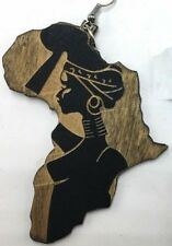 Africa Shaped Wood Earrings W/ Carved African Woman Ethnic Afrocentric Urban