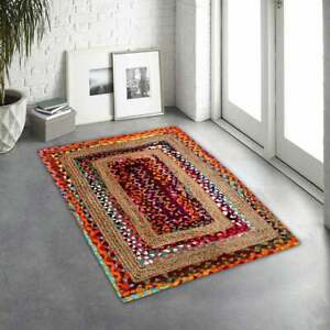 9x12 feet square beautiful Indian handmade braided bohemian cotton jute area rug