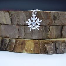 "Solid S925 Sterling Silver Small Cute Snowflake CZ Pendant Chain 18"" Necklace"