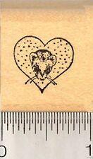 Tiny Ferret in Heart Rubber Stamp, Valentine B1611 WM