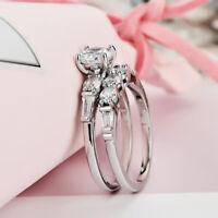 Fashion 925 Silver Wedding Rings Women Round Cut White Sapphire Ring Size 6-10