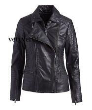 New BOD & CHRISTENSEN Women's Double-Zip Leather Moto/Biker Jacket Black size M