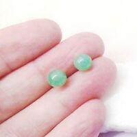Aventurin grün green rund Perle Design Ohrringe Ohrstecker  Silber plattiert neu