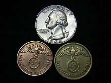 WWII  2 & 10 Reichspfennig Coins 1964 Washington Silver Quarter US German Lot