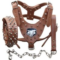 New Brown Leather Dog Harness Collar Leash set spikes studded for Pitbull Bully