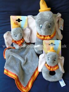 Disney Dumbo the Elephant Soft Plush Baby Toy Rattle Comfort Blanket New Gift