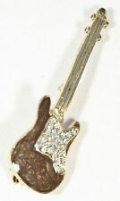 Brooch Electric Bass Guitar Crystals Musical Gift Present Music Pin Badge