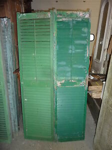 "c1900 PR victorian louvered house SHUTTERS green 69.5"" high & 18"" w x 1.25"""