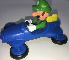 Mario Kart Luigi Figure Driving Blue Car 2014 McDonalds Cake Topper Toy Figure