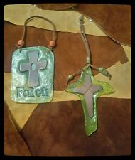 Faith And Cross Glass Wall DÉCor Set In Emerald Green & Brown With Beads