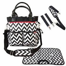 BABY CHANGING BAG DIAPER TOTE NAPPY BAG 5 PIECE SET STYLISH ZIGZAG DESIGN