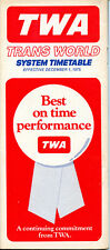 TWA Trans World Airlines December 1, 1975 System Timetable