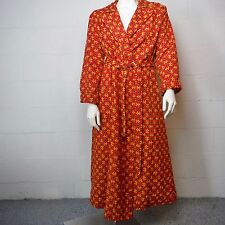 Vintage Lane Bryant Asian Symbol Print Red Robe House Coat