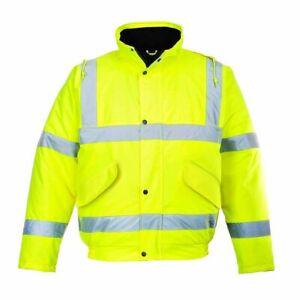 Portwest S463 HI VIS High Visibility BOMBER Jacket Coat YELLOW XXS - 8XL