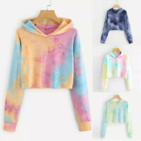 Women Hoodie Sweatshirt Jumper Sweater Crop top Coat Sports Pullover Tops S-2XL