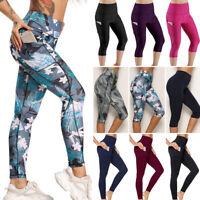 Womens High Waist Yoga Pants Fitness Pocket Gym Leggings Push Up Sports Trousers