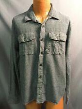 Vans Cotton Button Down Denim Flannel Style Shirt Shacket Mens Blue Large