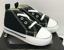 Converse Infant Size 1 First Star Black Canvas Crib Soft Bottom Shoes 8J231