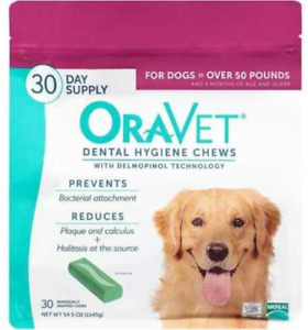 Merial Oravet Dental Hygiene Chew for Large Dogs 50 lbs and over, Dental Treats