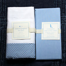 POTTERY BARN KIDS Chambray crib fitted sheet tailored gingham Skirt 2pc blue