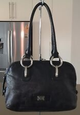 Retro Impressive CELLINI Black Leather Loaf / Tote Bag Genuine Cow Hide Leather