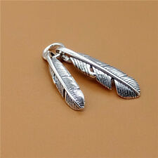 925 Sterling Silver Double Feather Charm Pendant for Bracelet Necklace