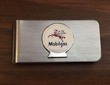 Silver Mobil Gas Station & Oil for Automobiles Vintage Money Clip Holder