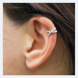 925 Sterling Silver Crossover Cubic Zirconia Ear Cuff