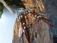 Fabulous Navajo Argent Plumes/en daim à Gland Breloque Étoile Bijoux Boucles d'oreilles