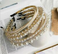 Women Girl layers Elegant Pearl Beads Hair Head Band Headband Party Tiara Hoop