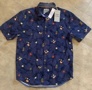 Disney Parks Tommy Bahama Mickey Mouse Button Down Shirt Navy Blue NEW w/ Tag XL
