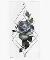 Blume Einmal Tattoos Blumen lila rose Temporäre Tattoo Body Sticker 21x11cm