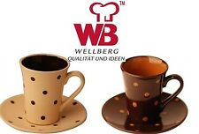 Wellberg 4 Piece Stoneware Tea Set Cream With Brown Spots 2 x Cup & 2 x Saucers