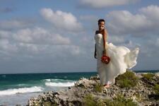 $360 BCBG Timona White Stripes Strapless Beach Wedding Gown Silk Dress Size 2 XS